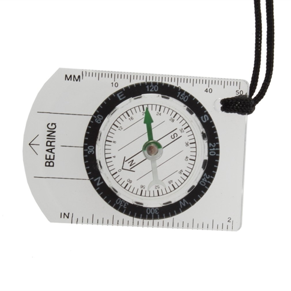SOSW-Mini All In 1 Outdoor Hiking Camping Baseplate Compass Map Measure Ruler