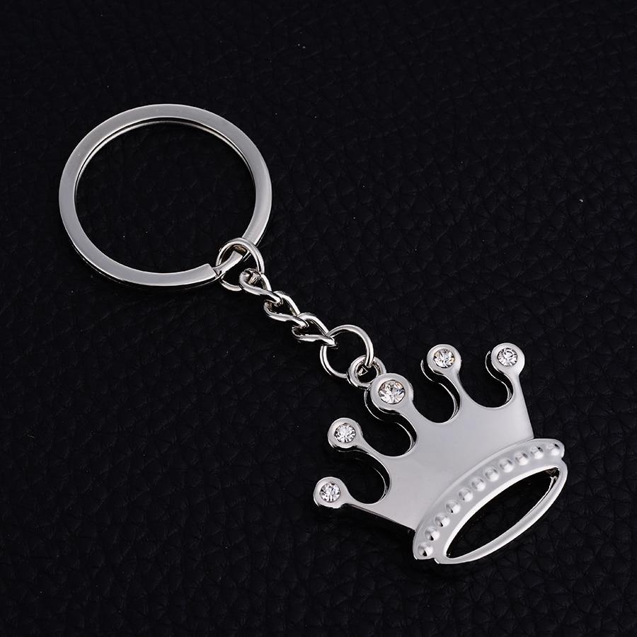 Crown Keychain Fashion Crystal Car Key Chain Ring Holder Creative Metal Bag Pendant Keyfobs Souvenir Gift Custom LOGO J021