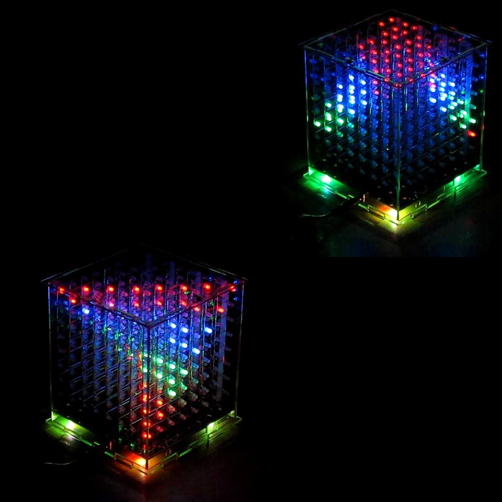Купить с кэшбэком 3D8 8x8x8 multicolor led cubeeds diy kit for Ardino with excellent animations,kits electronic