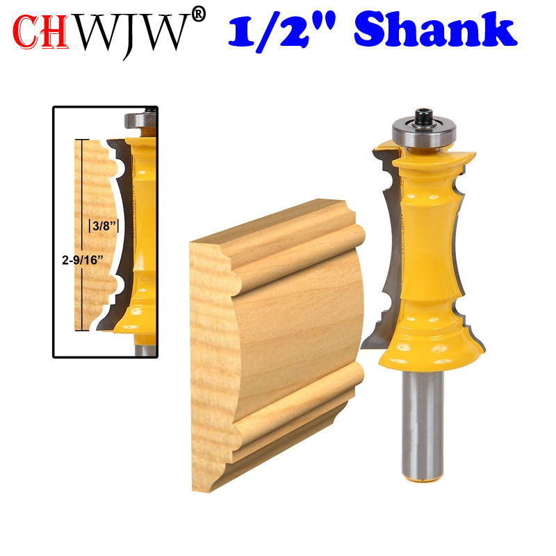 1pc Mitered Door Molding & Chair Rail Router Bit - 1/2