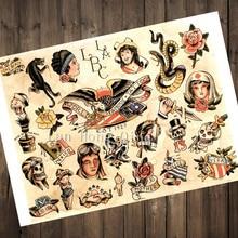 New Vintage 2017 Tatuaggi Patterned Manifesti di carta Kraft circa LONG  BEACH Wall Sticker Barber shop Home Decor HM-31 63b9752d1b67