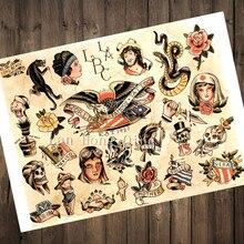 Nuevo Vintage 2017 tatuajes estampado carteles kraft de papel largo playa etiqueta de la pared de barbero tienda decoración HM-31