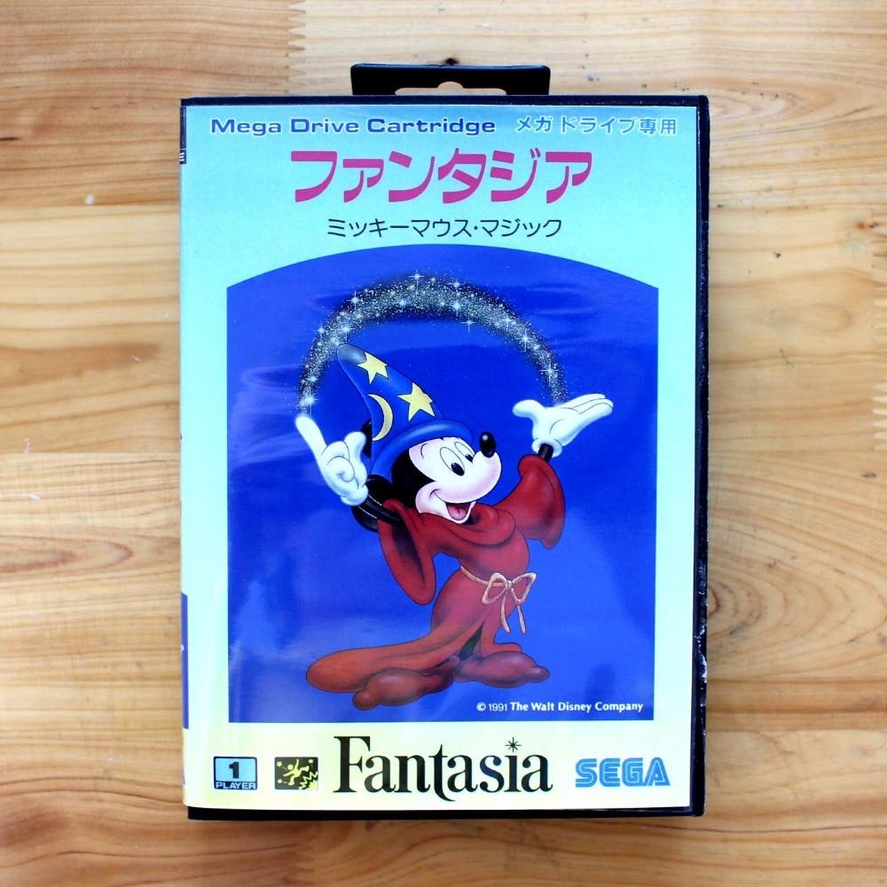 Fantasia 16 Bit SEGA MD Game Card With Retail Box For Sega Mega Drive For Genesis