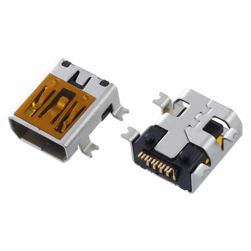 IMC Hot 10 Pcs Female Mini USB Type B 10 Pin SMT SMD Mount Jack Connector imc hot 10 pcs rj45 8p8c double ports female plug telephone connector