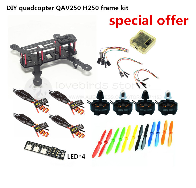 DIY FPV race mini drone QAV250 / ZMR250 H250 quadcopter frame kit pure carbon rack + D2204 + BLheli 12A ESC Special price