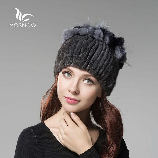 MOSNOW Genuine Mink Fur Winter Hat Female With Rex Rabbit Flower Solid Warm Stripe Elegant Knitted Women's Hats Skullies Beanies