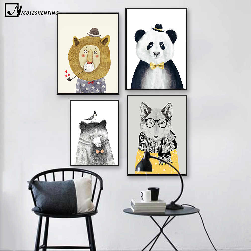 Cartoon Animal Bear Lion Panda Canvas Poster Minimalism Nordic Art Canvas Painting Pictures Modern Home Children Room Wall Decor
