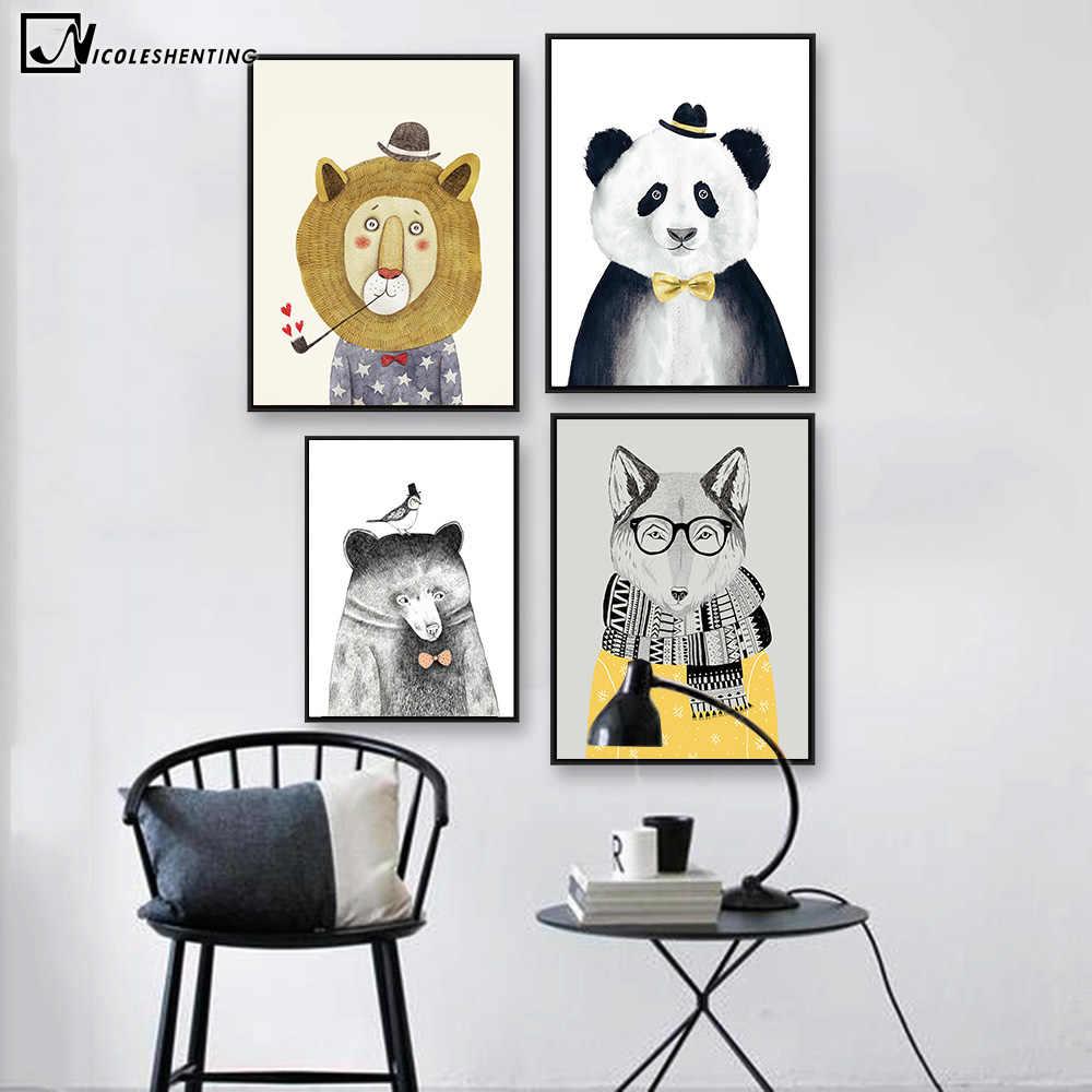 Kartun Hewan Beruang Singa Panda Kanvas Poster Minimalis Nordic Lukisan Kanvas Seni Gambar Rumah Modern Dinding Kamar Anak Dekorasi