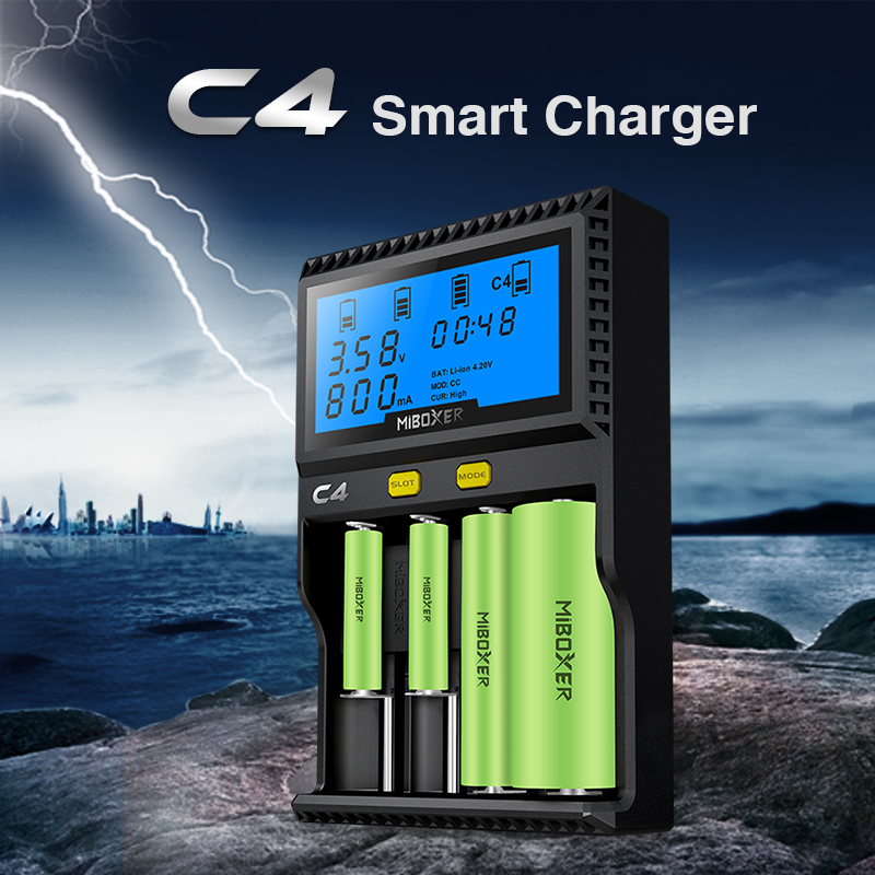 Original Miboxer C4 VC4 LCD Smart Battery Charger for Li-ion/IMR/INR/ICR/LiFePO4 18650 14500 26650 AA 3.7 1.2V 1.5V Batteries D4 18650 3 7v rechargeable li ion battery eu us plug aaa aa 18650 14500 10440 universal charger for led flashlight torch headlamp