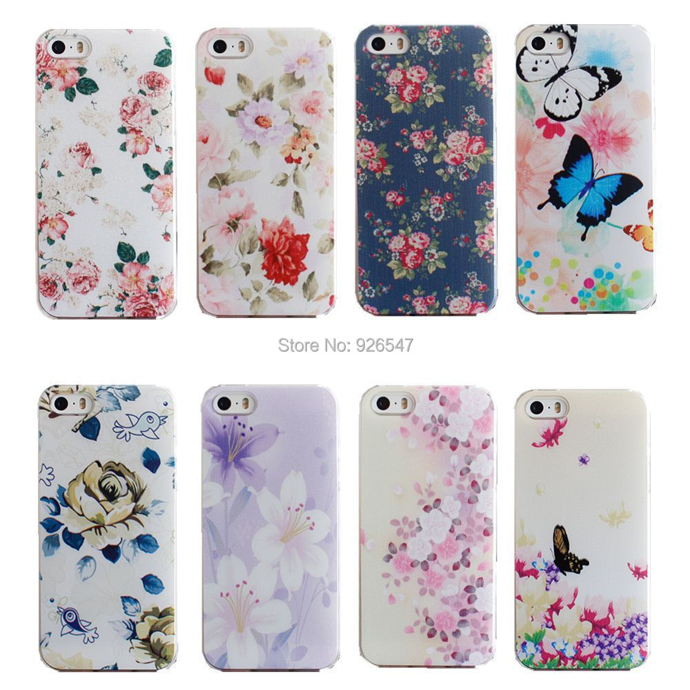 separation shoes 4e823 c25c9 Beautiful Flower Design Painted Hard Black Cover Cases Fit For iPhone 5 5s  SE Case For Phone Fashion Shell AABDB224: DJJDD65-in Phone Cases from ...