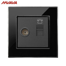 Free Shipping,MVAVA TV Wall Receptacle Television and RJ11 telephone Plug Port Jack Socket Luxury Mirror Black Panel Outlet