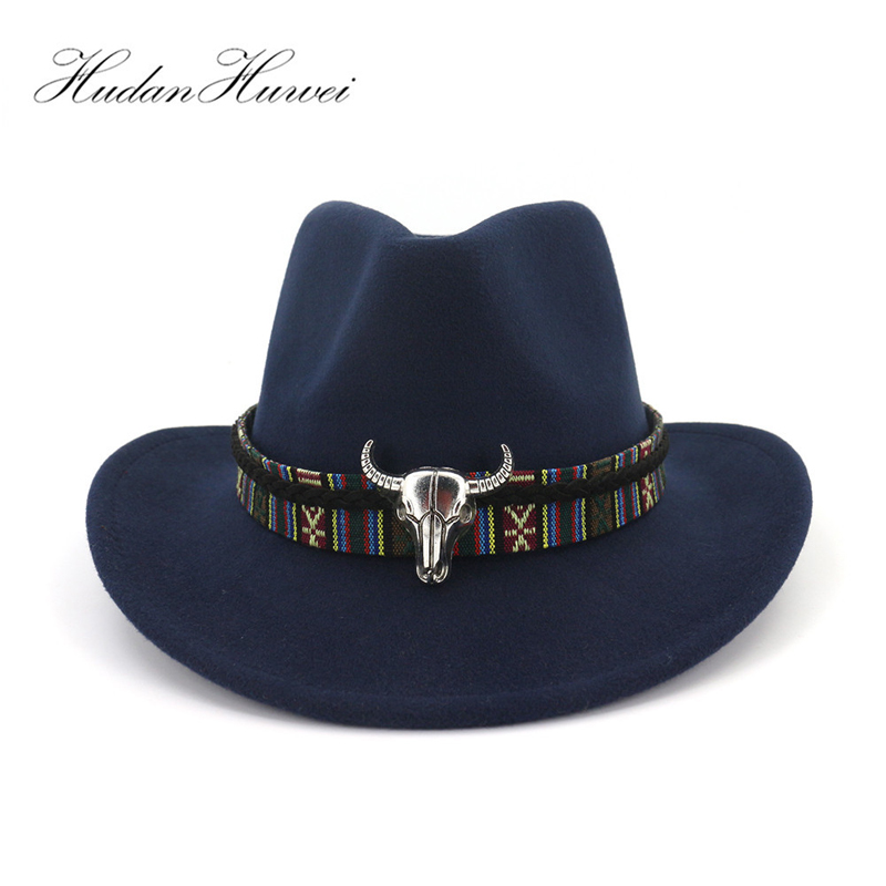 9e4020cbbc19f Wide Brim Western Cowboy Jazz Hat Cap Men Women Wool Felt Fedora Hats  Ribbon Metal Bullhead Decorated Black Panama Cap ~ Premium Deal May 2019