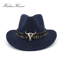 Wide Brim Western Cowboy Jazz Hat Cap Men Women Wool Felt Fedora Hats Ribbon Metal Bullhead Decorated Black Panama Cap
