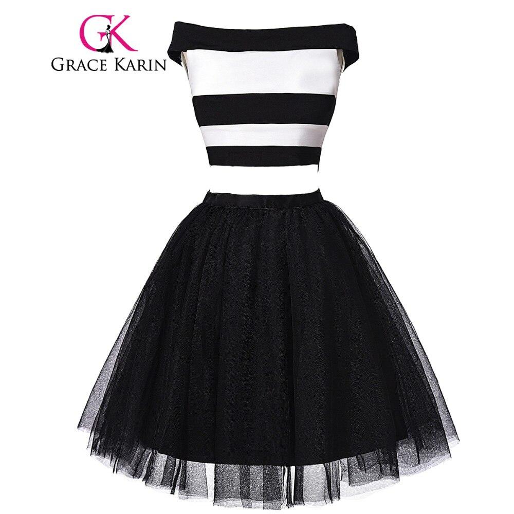 Grace karin corto puffy vestidos de baile 2 unidades de cuello barco ballkleider