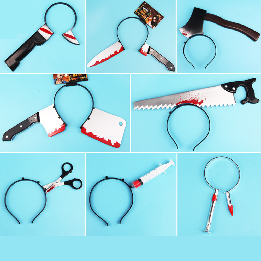 1Pcs/lot Multi Shapes Funny Scary Toys Halloween Perform Props Axe Saw Nail Knife Headwear Fake Blood Scene Props