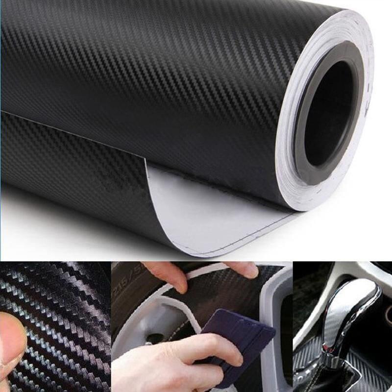 Image 3 - 자동차 랩 시트 롤 필름 스티커 자동차 인테리어 장식 127x30cm 3d 블랙 탄소 섬유 비닐 데칼 인테리어 자동차 스티커 새로운차량용 스티커   -