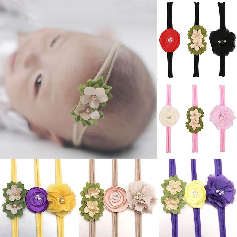 Sale 3Pcs/Set Baby Lovely hair band children High Quality Sweet elastic nylon green Flower Headband Headdress set Headwear Set