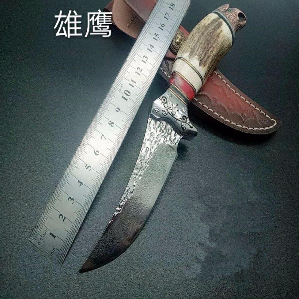 PSRK À La Main Damas couteau de chasse fixe 76 couche Damas acier Ébène eagle poignée couteau tactique de survie en plein air de sauvetage