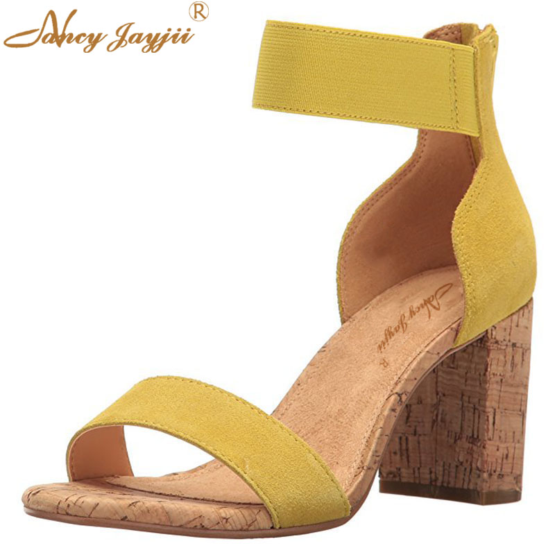 2018 Summer Nude Yellow Comfort Soft Sandals Open Toe Fashion Square Heels 8CM Ankle Strap Causal Shoes Women sandal Size 46 47