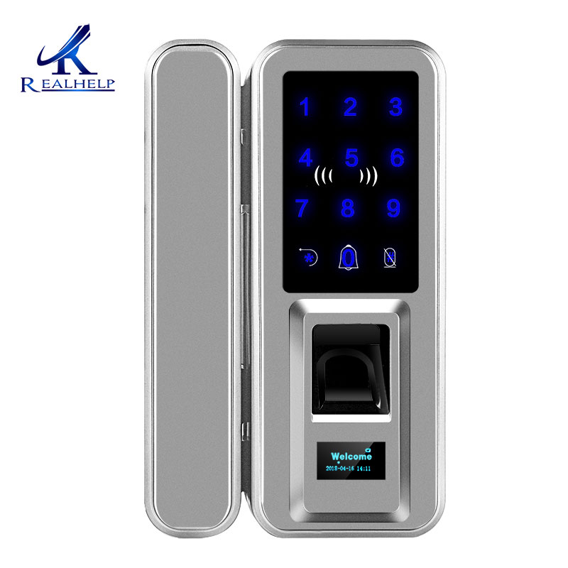 Biometric Fingerprint Lock Double Glass Doors Keyless