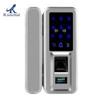 Biometric Fingerprint Lock Double Glass Doors Keyless Biometric Doorlock Passcode Digital Door Lock for Office and Homes