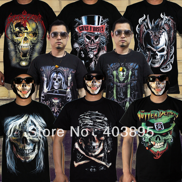 Stylish Skull 3D Hiphop Personality T-shirt Heavy Metal Punk Men's Short-sleeve Casual Tops,Free Shipping