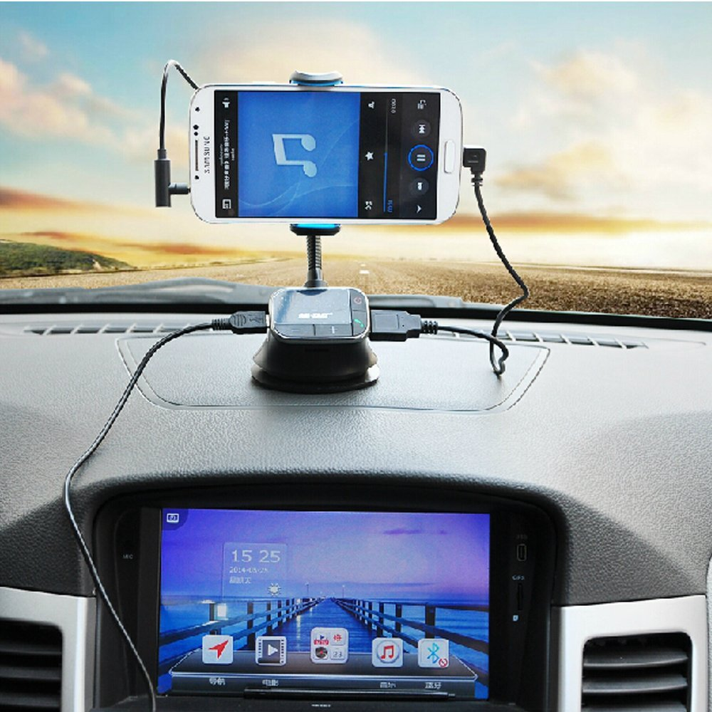 Mobilephone car mount holderusb chargerfm transmitterhandsfree mobilephone car mount holderusb chargerfm transmitterhandsfree micro sdtf card reader slot for samsung galaxy s4 s5 note 2 3 in fm transmitters from reheart Image collections