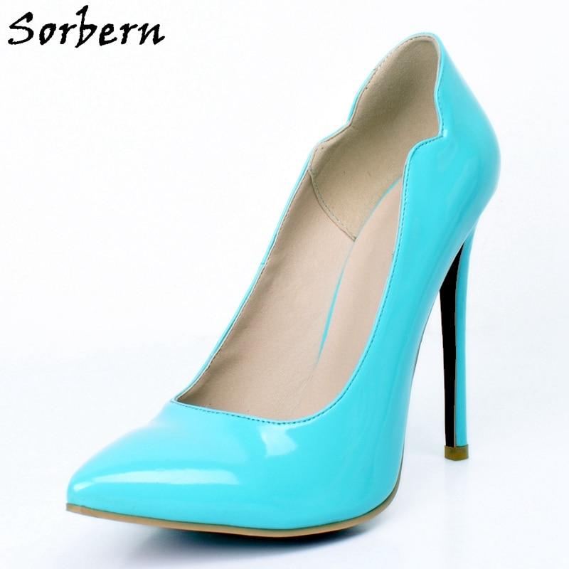 9645c7e18ba Sorbern Sky Blue Patent Leather Women Pumps Stilettos Heeled Slip On High  Heels For Party Women Shoes Autumn Spring Custom Color