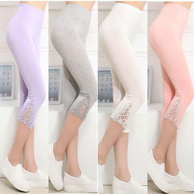 Ladies Womens 3//4 Length Cotton Legging Slim Fit Stretch Waist Dancewear Shorts