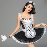 Hot Sale New Lace Cosplay Maid Dress Erotic Sling Lace Ruffle Role Play Sexy Maid Uniform Dress Cosplay Servant Maid Uniform Sex