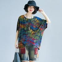 여름 튜닉 탑 한국어 패션 탄성 자카드 느슨한 티셔츠 배트 윙 슬리브 코튼 티셔츠 위장 인쇄 최고 플러스 S