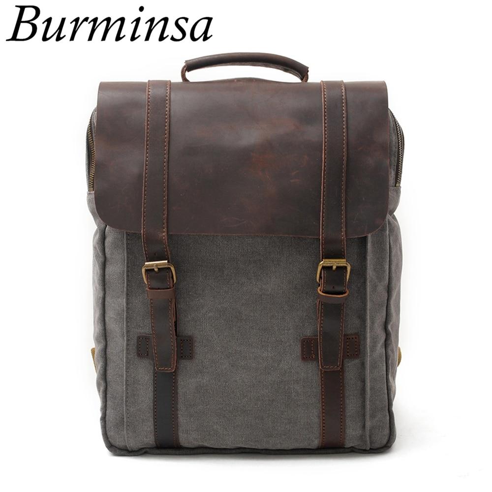 Burminsa Vintage Large Crazy Horse Leather Canvas Backpack For Men School Bags Pack Women Laptop Bagpack