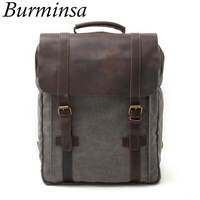 New Vintage Large Crazy Horse Leather Canvas Backpack For Men Teenagers School Back Pack Women Laptop