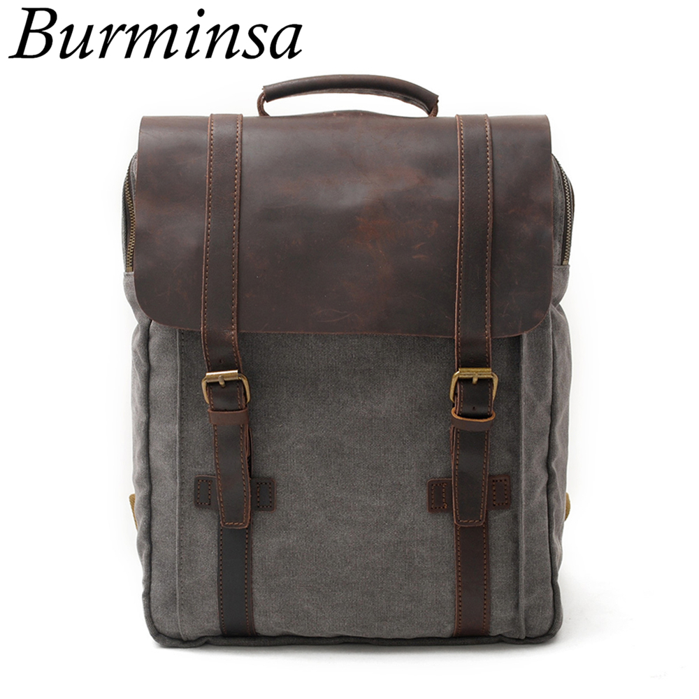 Burminsa Vintage Large Crazy Horse Leather Canvas Backpack For Men School Bags Pack Women Laptop Bagpack Teenagers Travel BagsBurminsa Vintage Large Crazy Horse Leather Canvas Backpack For Men School Bags Pack Women Laptop Bagpack Teenagers Travel Bags