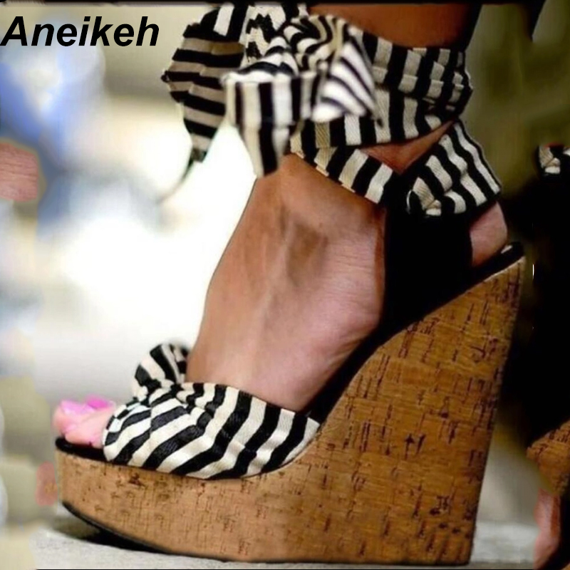 674c88015eb7e6 Aneikeh Wedges Sandals Summer Pumps Sexy Ultra High Heels Female Sandals  Stripe Cross-Strap Plarform