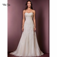 weiyin 2018 Long Wedding Dresses Sleeveless Strapless Court Train Backless A line Garden Church Elegant Custom Wedding Dress