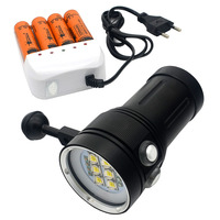 New Diving 20000Lumen 6x 9090 LED LED Torch Underwater Video Diving Flashlight Lamp With battery & Charger