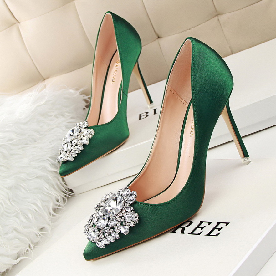 Women Shoes Pointed Toe Pumps Dress Shoes 10CM Thin High Heels Boat Shoes Rhinestone Shiny Buckle Satin Wedding Shoes