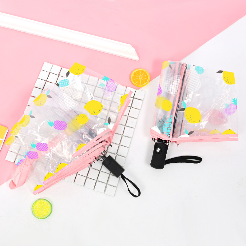 d9e3f8d5ee648 Yuding Fully Automatic Fishing Umbrellas For Women Transparent Lemon  Printing Umbrella Korean Style Woman's Gifts Umbrella-in Umbrellas from  Home & Garden ...