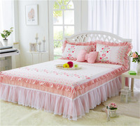 White pink Flower 3pcs Lace Bed Skirt soft Pillowcases Wedding Princess style Bedding Girls Bedspread Gift King/Queen/Full size