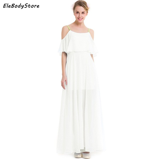Summer Beach Maxi Dress Women Long Dress 2018 Vestidos Chiffon White Sexy  Off Shoulder Plus Size Casual Dresses Evening Party df81c3d4534c