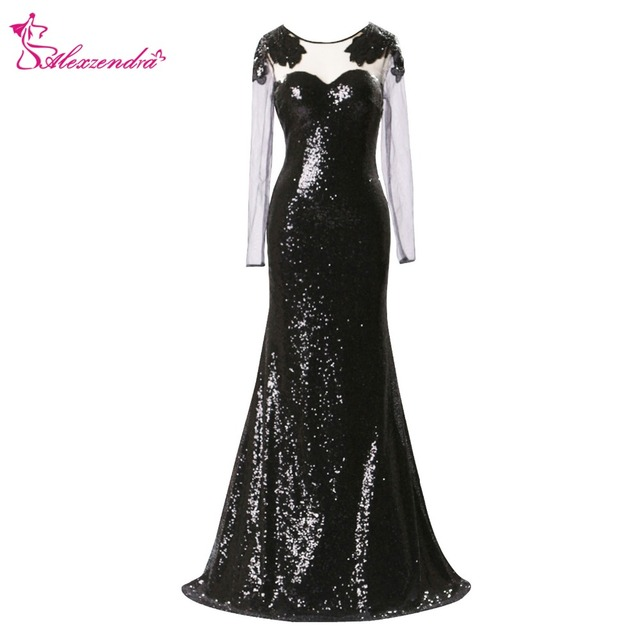 Alexzendra Black Mermaid Long Sequined Black Evening Dress with Long  Sleeves Prom Dresses Plus Size Special Party Dresses 6cbd8ae9a0ec