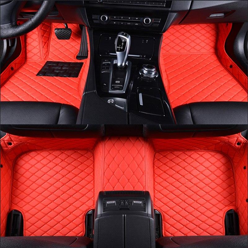 Voiture tapis de sol pour Jaguar XF XE XJL XJ6 XJ6L F-PACE F-TYPE marque doux et ferme de voiture accessoires voiture style Personnalisé tapis de sol Rouge