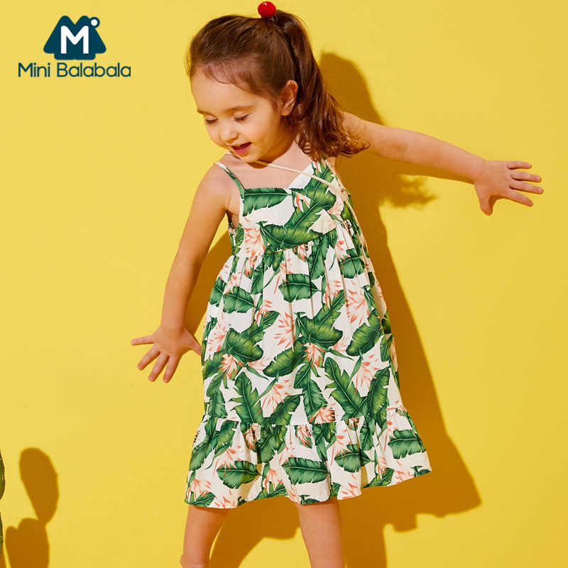 Minibalabala menina sleevelss v-neck vestido queimado tropical impressão crianças menina do miúdo vestidos de praia roupas verão