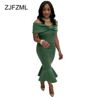 ZJFZML Women Slash Neck Dresses Sexy Big Bow Long Bodycon Evening Party Ruffles Army Green Maxi