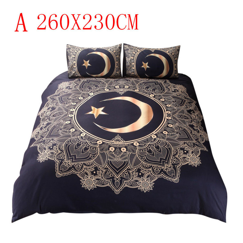 Image 2 - Three Piece Bedding Set Duvet Cover Pillowcases Moon Star Full Size bed sheet cover adult cotton sheets twin bed sheets-in Bedding Sets from Home & Garden