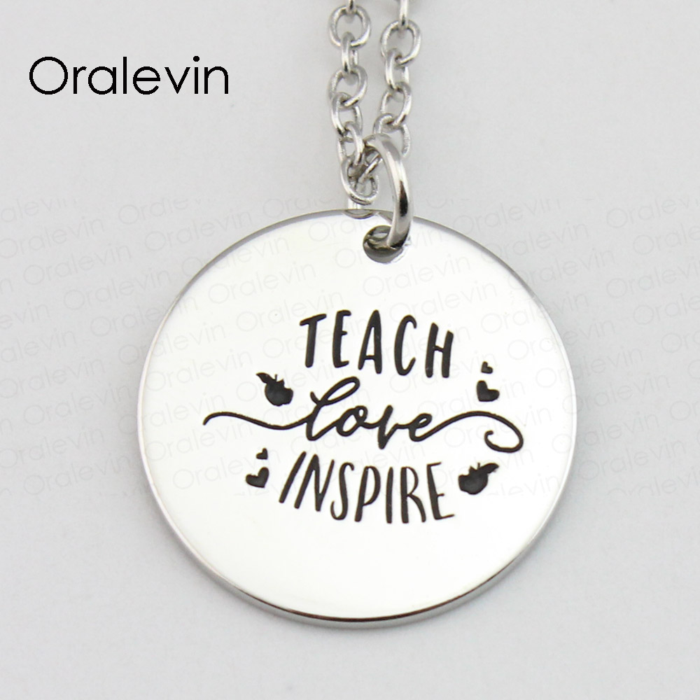 TEACH LOVE INSPIRE Memorial Pendant Charms Necklace Gift Jewelry 10Pcs/Lot,#LN374