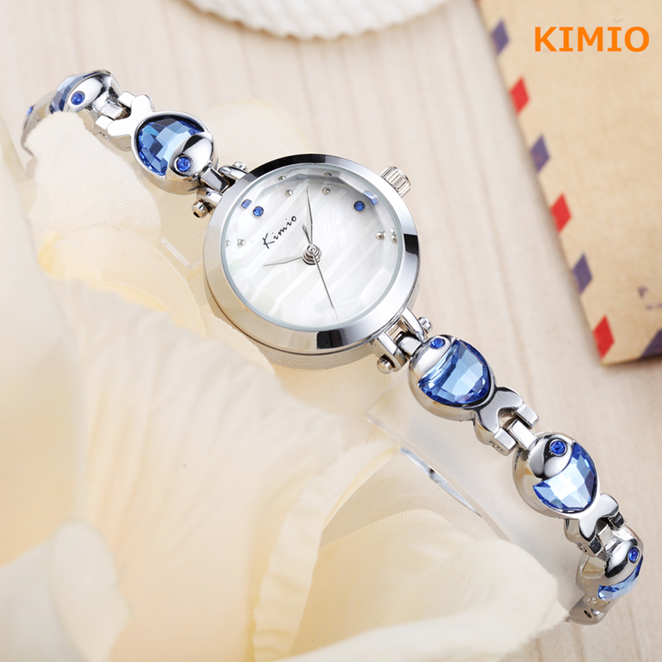 KIMIO Water Fish Gem Crystal Rose Gold Bracelet Watch Women Luxury Brand Quartz Watch Woman Women-dress Wrist Watches For Women duoya brand new arrival women gold leather wrist watches for women dress bracelet luxury crystal vintage quartz watch clock 2018