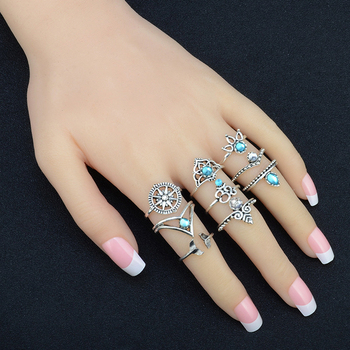 Blue Crystal Vintage Totem Womens Ring Set 1