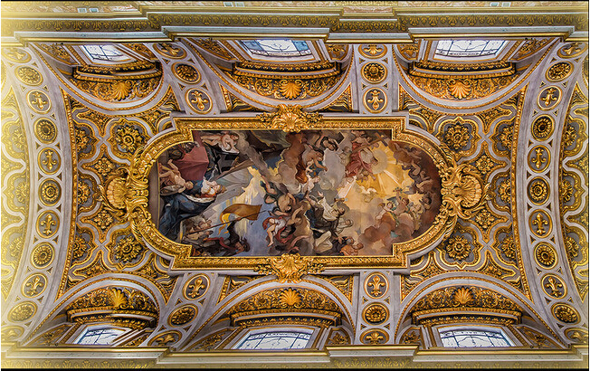 Custom vintage wallpaper, the Renaissance of classical oil painting used for ceiling background ...